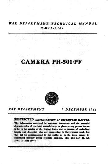 Combat Camera, Technical Manual (page1)